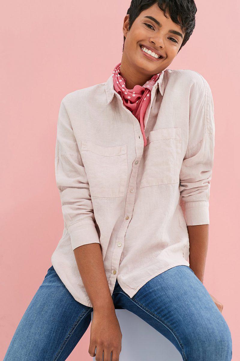 blouse lin rose esprit
